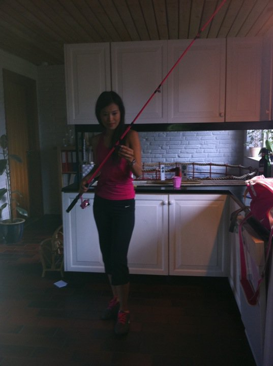 Fisherwoman s pink fashion for Pink fishing gear